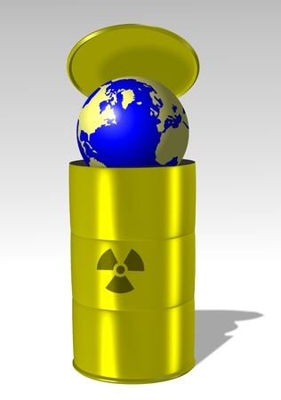 Earth being stored into a yellow barrel marked with a radioactive symbol photo