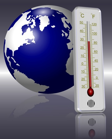 warm up: Earth and a thermometer in front of it indicating global warming