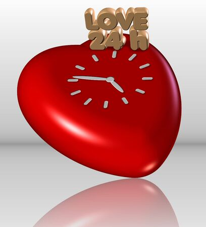 A heart with a clock on it and a text spelling 24 hours photo