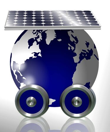 carbon emission: Earth with attached wheels running on solar power