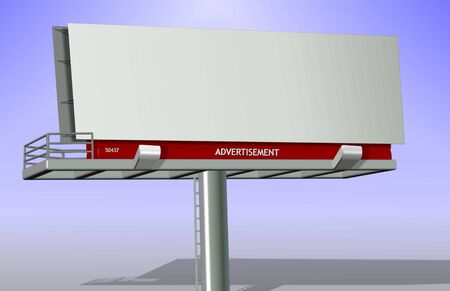 An illustration of a blank billboard with a blue sky in the background Stock Illustration - 11007865