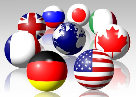 bandera rusia: Banderas de todos los miembros del grupo del G-8 que rodea la Tierra