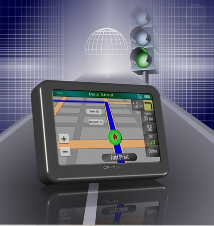 Global positioning system on a road and a traffic light turned green in the background