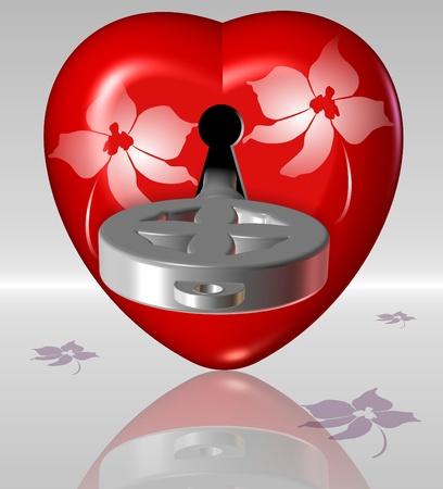 A heart with a keyhole and a key inside it photo