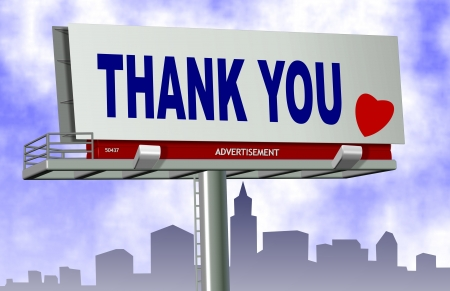 outdoor advertising: Thank you spelled on a big advertising billboard with a city in the background
