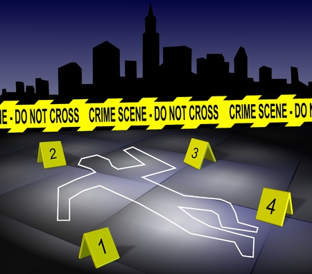 murder: A body outline drawn on a footpath by chalk with a city in the background