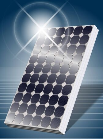 emission: An illustration of a solar panel with a blue background Stock Photo