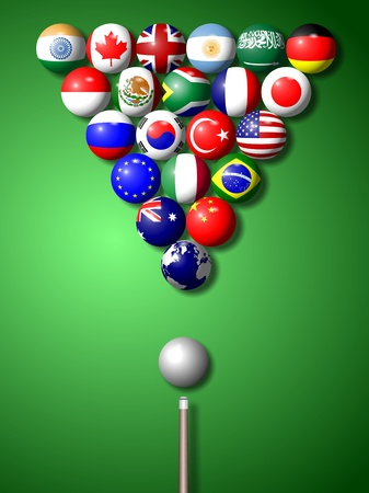 bandera argentina: Banderas de los miembros del grupo G-20 en forma de conjunto y las bolas de billar Foto de archivo