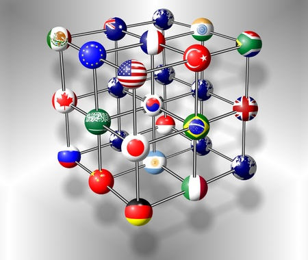 Flags of G20 group members connected as a molecule photo