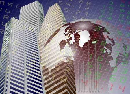 A modern city buildings with Earth and stock exchange board in the background Stock Photo - 11234521