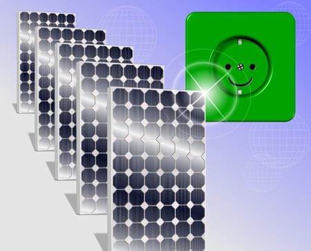 zero emission: A row of shiny solar panels with a smiling power socket Stock Photo