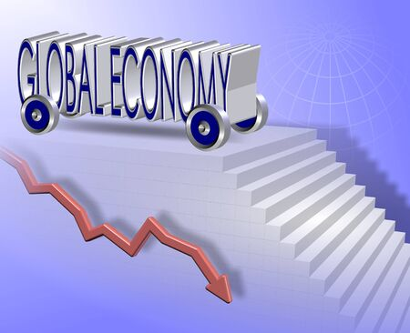 economic downturn: Words spelled global economy with wheels attached on their way down