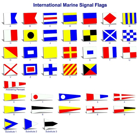 A complete set of international naval signal flags Stock Photo - 11234526