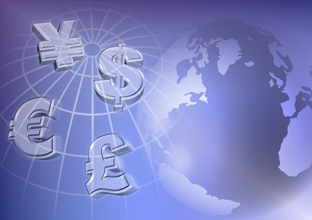 Symbols of four major currencies with Earth in the background Stock Photo - 11382599