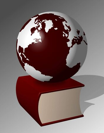 A big red book and Earth sitting on top of it Stock Photo - 11382605