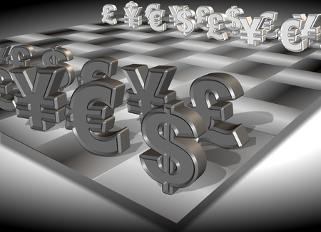 positioned: Symbols of four major currencies positioned on a chess board Stock Photo