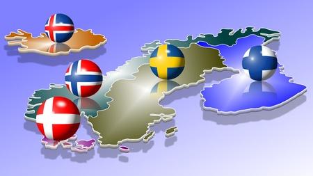 Une carte des cinq pays scandinaves avec leurs drapeaux en forme de boules Banque d'images
