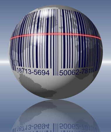 bar code reader: Earth with a bar code printed on it and a scanner going over it