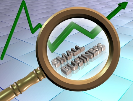 business finance: Words spelled small business looked through a magnifying glass