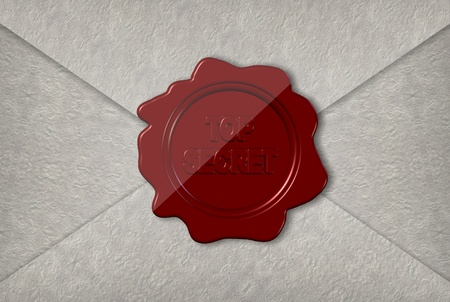 A paper envelope sealed with a red wax stamp spelling top secret