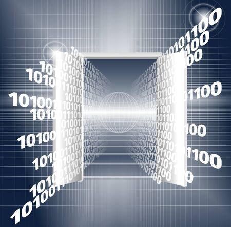 gateway: An abstract illustration of a binary code coming out from a door Stock Photo
