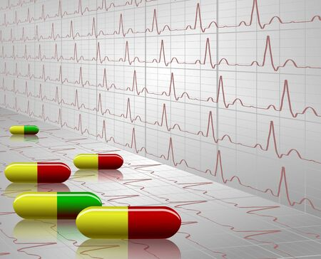 pharmacology: A number of colorful tablets with an ECG graph in the background