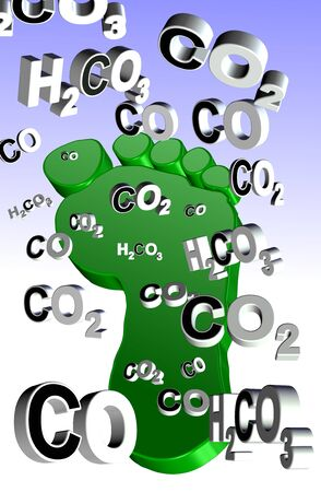 An illustration of an expression, carbon footprint and carbon compounds coming from it illustration
