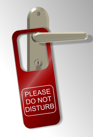 closed door: A door handle and a red sign spelling do not disturb Stock Photo