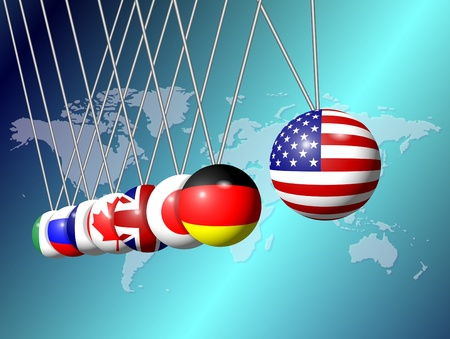 Newtons cradle balls replaced with flags of G8 group members