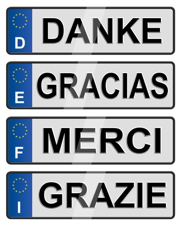 license: Four European union number plates spelling thank you