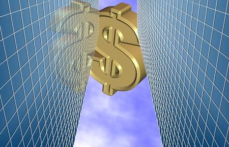 A golden dollar sign flying above modern city buildings