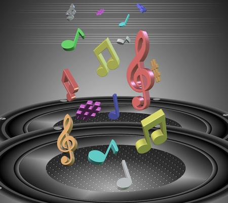 Two black speakers and colorful music notes coming out from them Stock Photo - 11694074