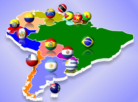 mapa de bolivia: Un mapa de América del Sur y todos los países con sus banderas en forma de bolas