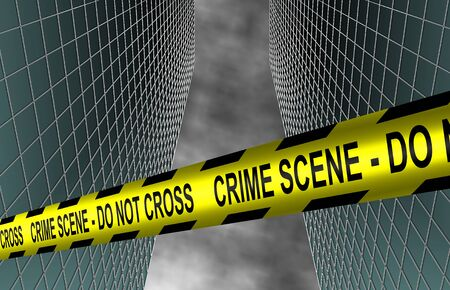 victim: A yellow police tape spelling crime scene do not cross spread between two buildings