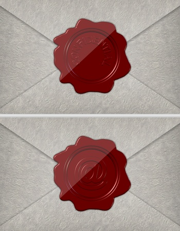 Paper envelopes sealed with red wax stamps spelling confidential and sign at photo