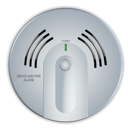An illustration of a smoke and fire white house detector Stock Illustration - 11694078