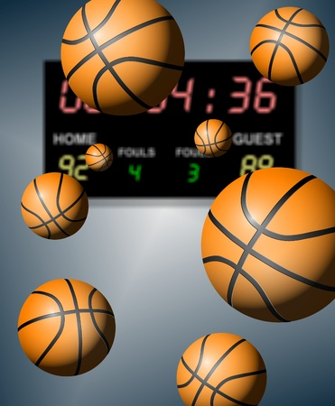 A group of basketballs suspended in the air with a digital board in the background