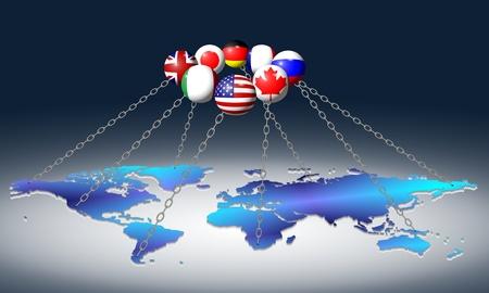 dominare: Bandiere del G8 membri del gruppo tenendo mondo con le catene