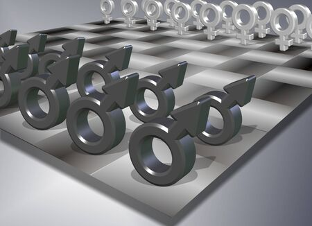 Male and female symbols positioned on a chess board Stock Photo - 11841108