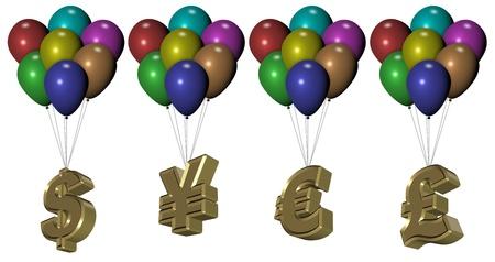 levantandose: Una serie de coloridos globos elevadores símbolos de oro de dinero