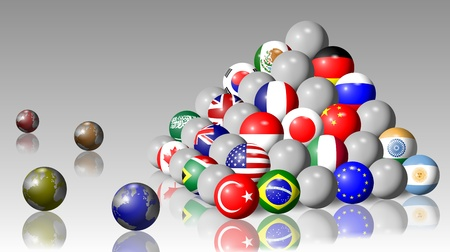 Flags of G20 members shaped as balls and forming a pyramid photo
