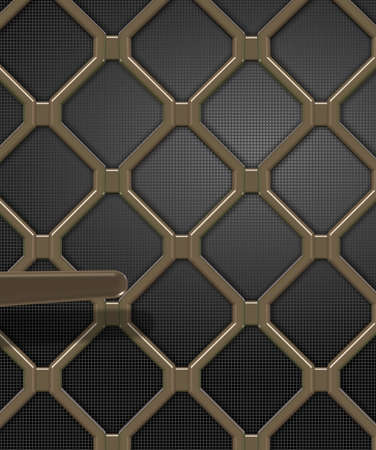 iron defense: An illustration of a cast iron made security door Stock Photo