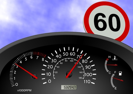 kilometer: A dashboard indicating a car speed over the limit
