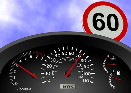 v�locit�: Un tableau de bord indiquant une vitesse de la voiture d�passe la limite