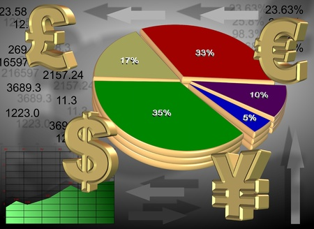 An illustration of major world currencies and different types of charts illustration