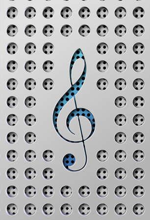 chiave di violino: Un taglio su una superficie di diffusore in una forma di chiave violino