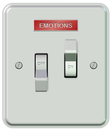 A white plastic light switch turned on and off with a sticker spelling emotions