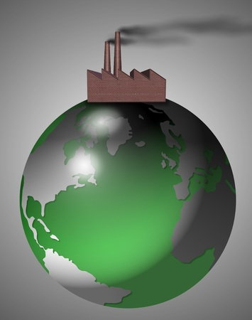 An abstract illustration of Earth and a factory sitting on top of it