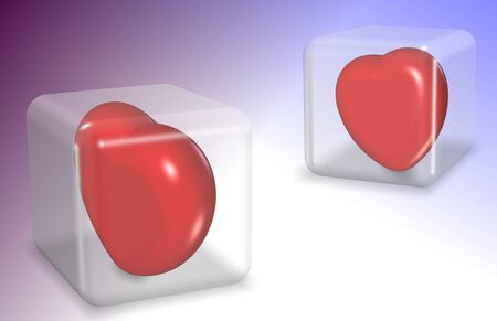 trapped: Two red hearts trapped inside transparent glass cubes