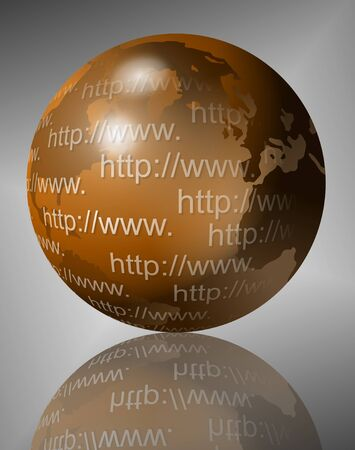 reflection internet: An illustration of Earth and many website addresses written all over it